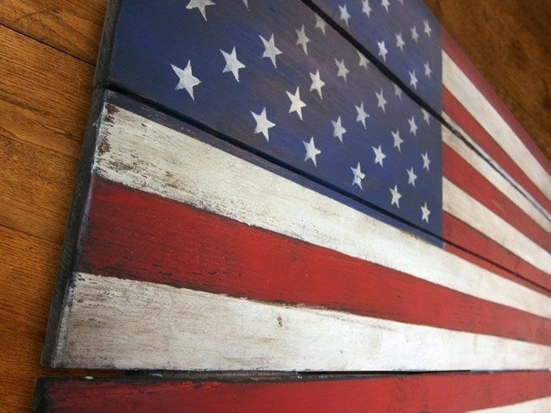 American Flag Outdoor Wall Art Smartness Ideas Flag Wall Decor With for Rustic American Flag Wall Art