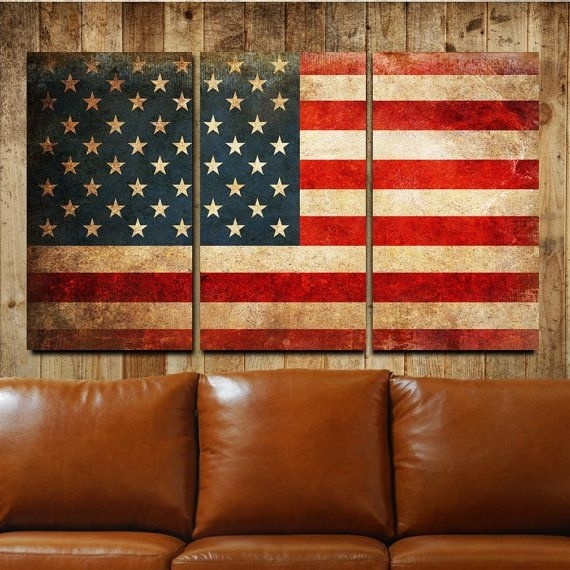 American Flag Rustic Canvas Gallery Wrapped Wall Art Triptych With American Flag Wall Art (Image 3 of 10)