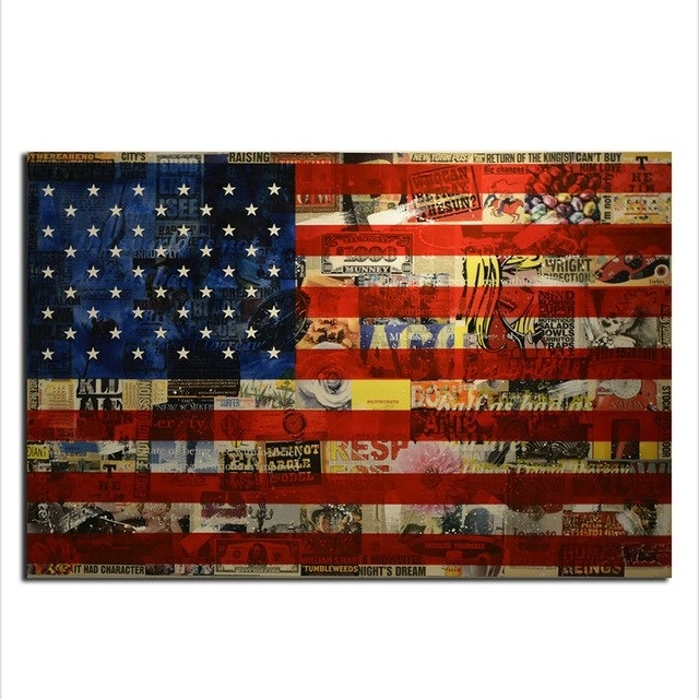 American Flag Wall Art, Modern Canvas Prints Wall Art Hanging Inside American Flag Wall Art (Image 6 of 10)