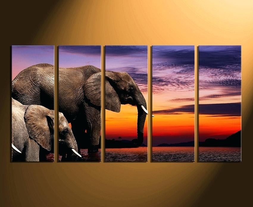 Animal Canvas Wall Art Fashionable Elephant Canvas Wall Art Interior Regarding Elephant Canvas Wall Art (View 3 of 20)