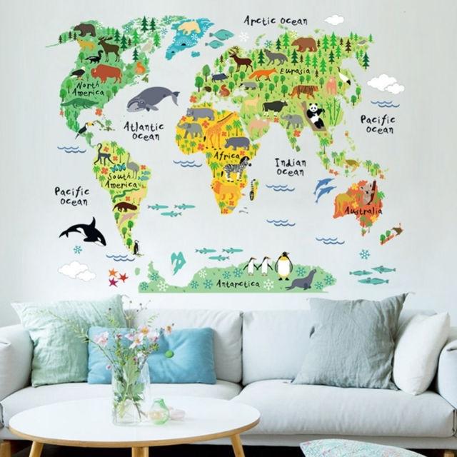 Animal World Map Wall Art Stickers Nursery Kids Decor Removable in Wall Art Stickers World Map