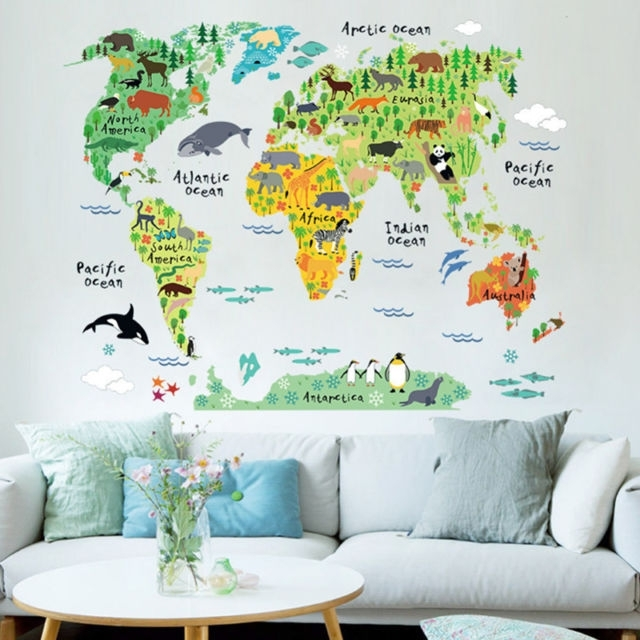Animal World Map Wall Art Stickers Nursery Kids Decor Removable Throughout Vinyl Wall Art World Map (Image 3 of 25)