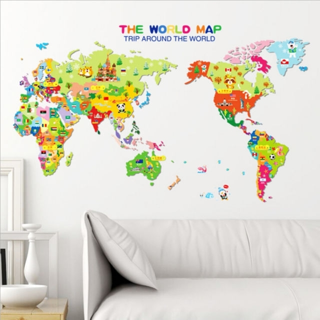 Animal World Map Wall Decal Removable Art Sticker Kids Nursery Room In Wall Art Stickers World Map (Image 3 of 25)