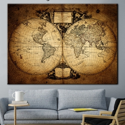 Antique Map, World Map, Old World Map, Wall Art, World Map Print For Wall Art World Map (Image 3 of 25)