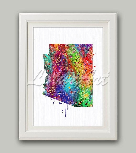 Arizona Map Arizona Print Arizona Wall Art Rainbow Arizona Map Home Within Arizona Wall Art (Image 9 of 25)