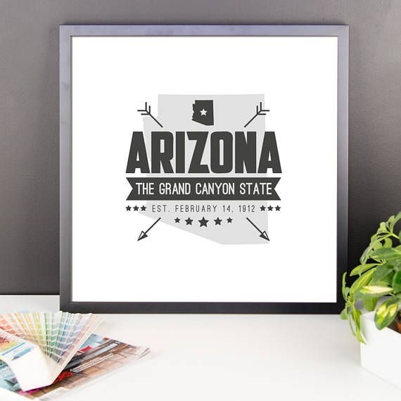 Arizona State Badge Print Arizona Poster Arizona Wall Art | Us Intended For Arizona Wall Art (Image 10 of 25)