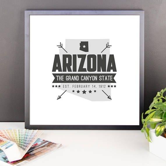 Arizona State Badge Print Arizona Poster Arizona Wall Art | Us Intended For Arizona Wall Art (View 25 of 25)