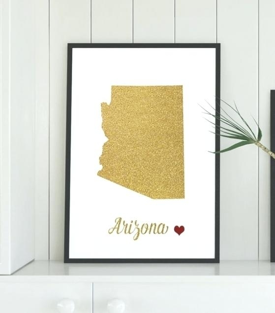 Arizona Wall Art Gold Map Printable Art Printable State Wall With Throughout Arizona Wall Art (Image 11 of 25)