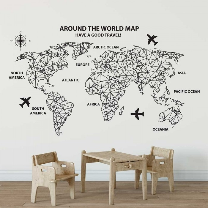 Around The World Map Vinyl Wall Art Decal Within Vinyl Wall Art World Map (Image 4 of 25)