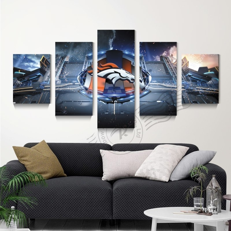 Art Canvas 5 Piece Abstract Denver Broncos Wall Canvas Art Painting Pertaining To Broncos Wall Art (Image 3 of 20)