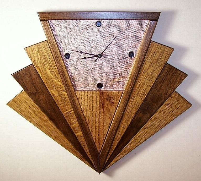 Art Deco Clock | Art Deco Wall Clock Unique Machine Age Fan Oak Inside Art Deco Wall Clock (View 24 of 25)