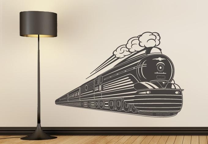 Art Deco Train Wall Sticker – Locomotive Vinyl Decal For Art Deco Wall Art (Image 6 of 25)