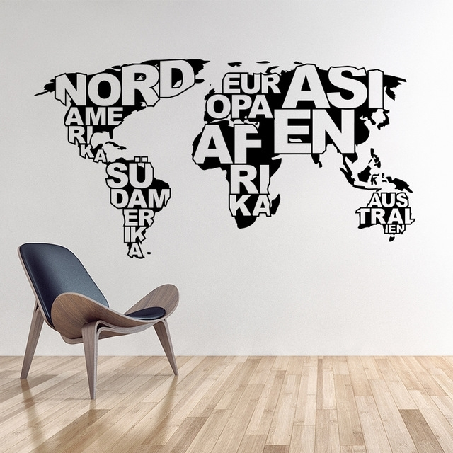 Art Design World Map Vinyl Wall Sticker Home Decoration Map Wall With Regard To Vinyl Wall Art World Map (Image 5 of 25)