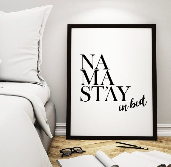 "Art Digital Print Namaste Poster ""namastay In Bed"" Printable Art Inside Home Decor Wall Art (View 20 of 20)"