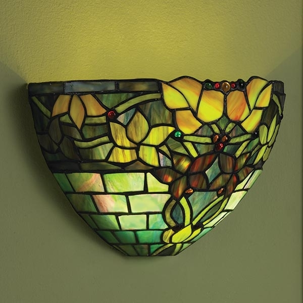 Art Glass Wall Sconce Battery Operated With Remote Control – Jewel Pertaining To Stained Glass Wall Art (View 20 of 25)