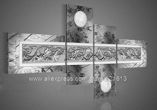 Art Home Flower Group Moon Flower Pattern On Grey Chastity Silver Inside Grey Wall Art (View 18 of 25)