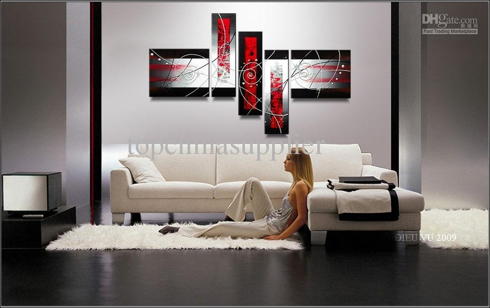 Art Modern Abstract Oil Painting Handpainted Cool Painting Within Multi Piece Wall Art (View 17 of 20)