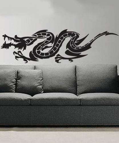 Asian Art Wall Stickers :: Tattoo Dragon Wall Decal Intended For Dragon Wall Art (View 9 of 25)