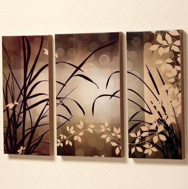 Asian Wall Art Wall Art Oil Painting Brown Flowers Trees Three Panel For Oriental Wall Art (Image 10 of 25)