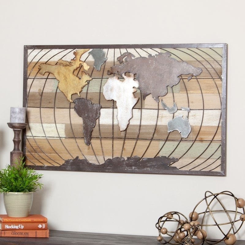 Aspire Marco World Map Wall Decor & Reviews | Wayfair Throughout World Map For Wall Art (Image 6 of 25)