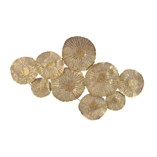 Aurelle Home Large Gold Circles Metal Art Wall Decor Free Shipping Regarding Gold Metal Wall Art (Image 1 of 10)