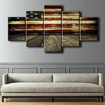Awesome Ideas American Flag Wall Art Modern House Wayfair Wood Decor Intended For Vintage American Flag Wall Art (Image 5 of 25)