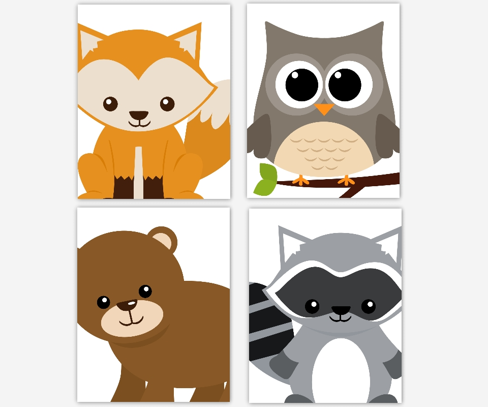 Baby Boys Canvas Nursery Wall Art Brown Gray Grey Large Owl Fox Bear Intended For Woodland Nursery Wall Art (View 5 of 25)