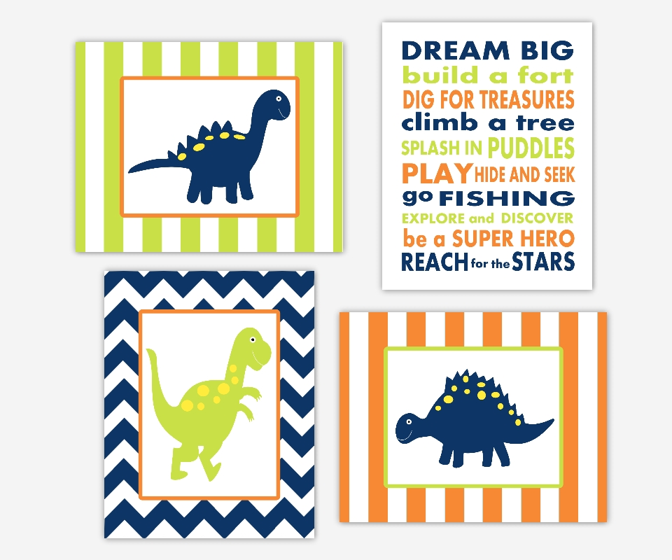 Baby Boys Canvas Nursery Wall Art Navy Blue Lime Green Orange In Dinosaur Wall Art (Image 2 of 20)