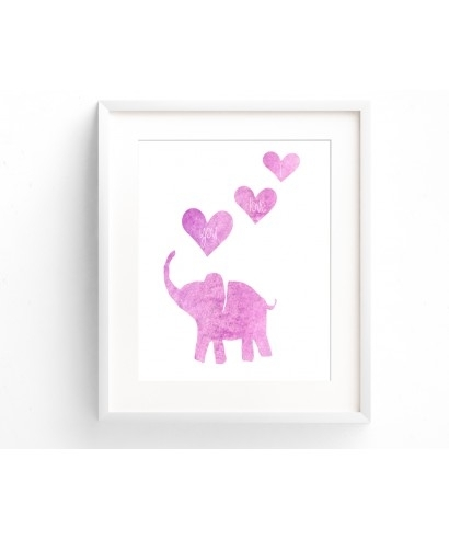Baby Girl Pink Wall Art Printable Elephant With I Love You Hearts Intended For Pink Wall Art (Image 4 of 25)