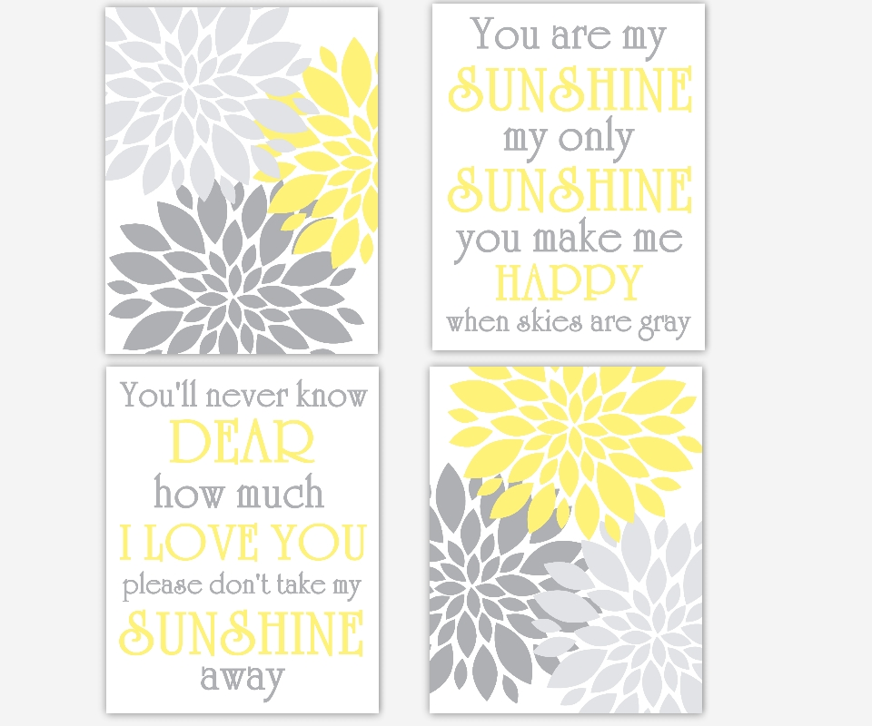 Baby Girls Canvas Nursery Wall Art Yellow Gray Grey You Are My In Gray Canvas Wall Art (View 19 of 25)