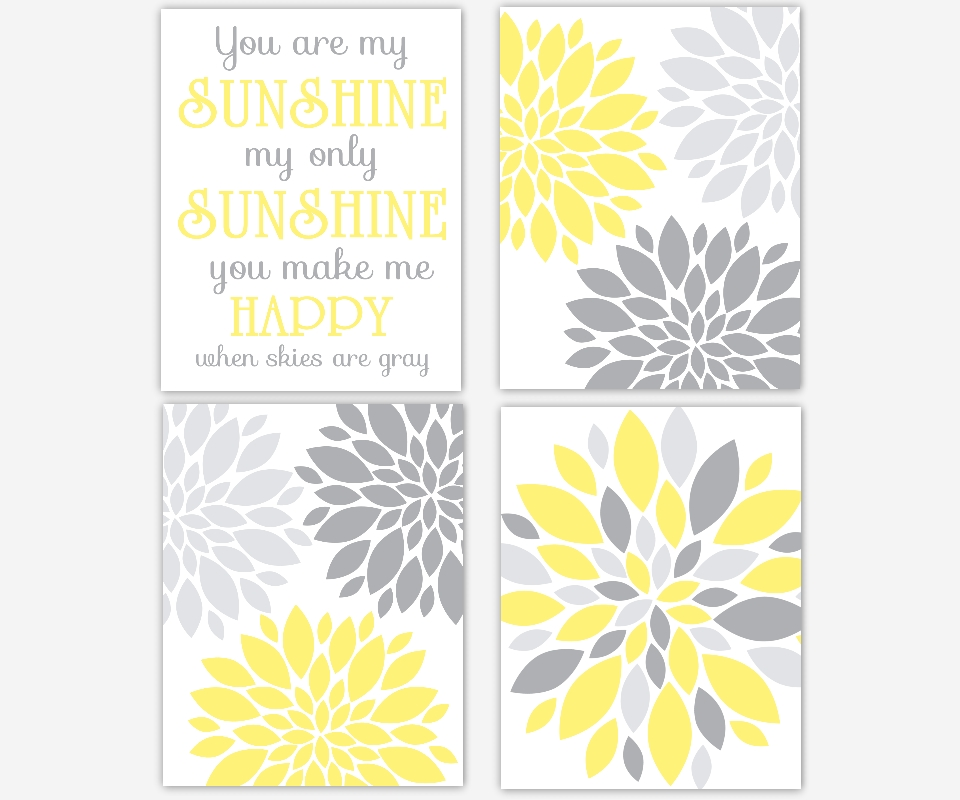 Baby Girls Canvas Nursery Wall Art You Are My Sunshine Flower Burst In You Are My Sunshine Wall Art (Image 1 of 10)