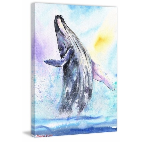 Ballerina Whale Canvas Wall Art | Temple & Webster Inside Whale Canvas Wall Art (Image 3 of 25)
