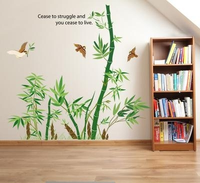 Bamboo Forest Wall Art Mural Decor Cease To Struggle And You Cease With Bamboo Wall Art (Image 2 of 25)
