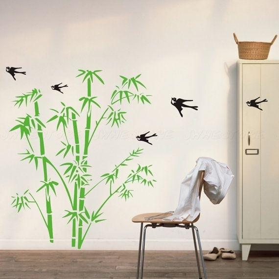 Bamboo Wall Decals – Bamboo Wall Decor With Birds Wall Decal Wall Within Bamboo Wall Art (Image 9 of 25)