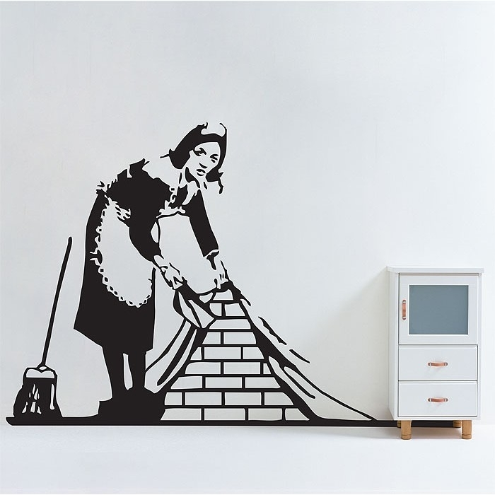Banksy Maid In London Vinyl Wall Art Decal Intended For London Wall Art (View 24 of 25)