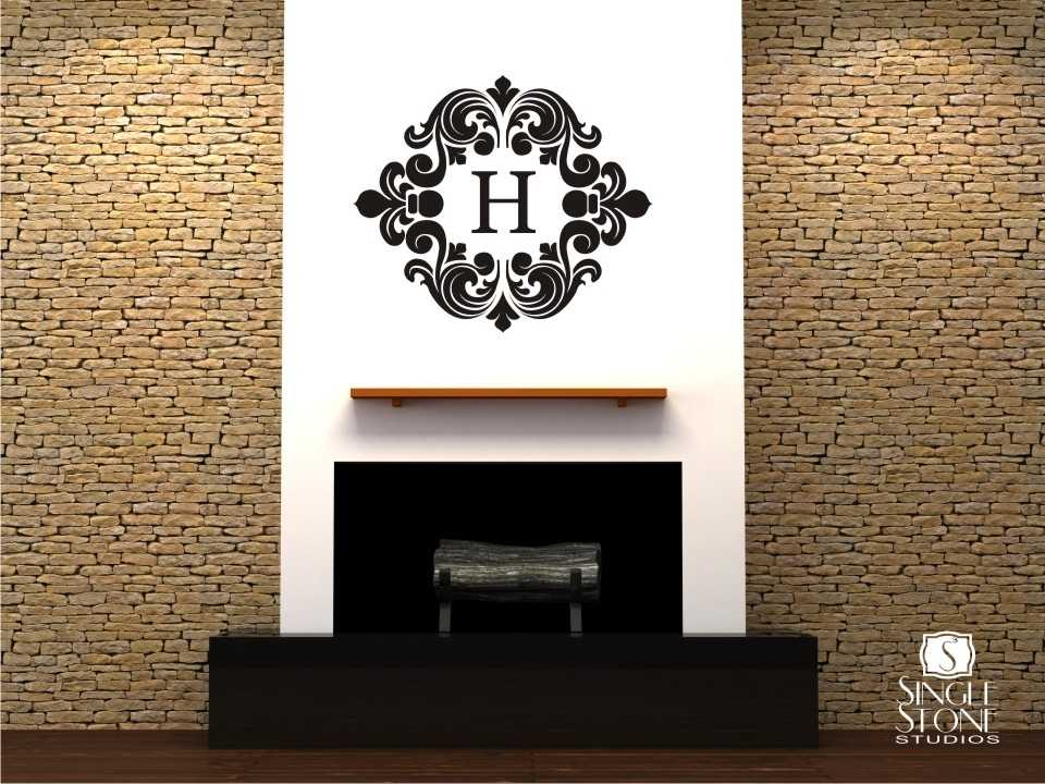 Baroque Monogram – Wall Decals – Wall Decals | Wall Stickers | Vinyl In Monogram Wall Art (Image 3 of 25)