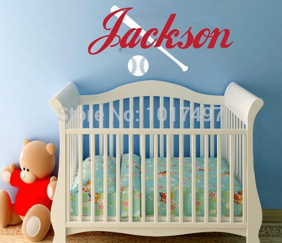 Baseball Wall Decal With Name Children' Boy Bedroom Decor With Regard To Baseball Wall Art (Image 11 of 25)