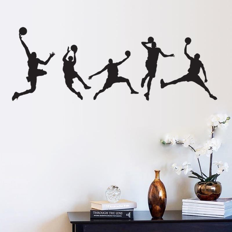 Basketball Match Wall Art Mural Decor Home Decoration Wallpaper Throughout Sports Wall Art (Image 2 of 25)