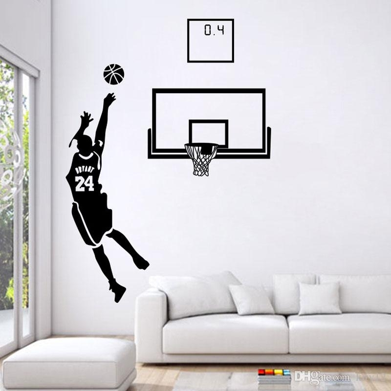 Basketball Men Boys Wall Stickers Sports Wallpaper Wall Decals Art Inside Basketball Wall Art (Image 2 of 10)