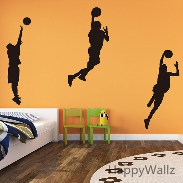 Basketball Player Wall Decals Boys Wall Stickers Diy Decorative Throughout Sports Wall Art (Image 3 of 25)