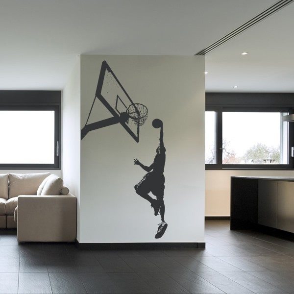 Basketball Slam Dunk Wall Sticker Sport Wall Art Within Basketball Wall Art (Image 3 of 10)