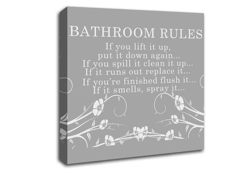 Bathroom Rules 2 Grey White Text Quotes Square Panel Canvas Square With Bathroom Rules Wall Art (Image 2 of 25)
