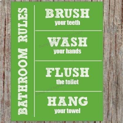 Bathroom Rules Bathroom Wall Art Washbumpandbeyonddesigns On With Bathroom Rules Wall Art (Image 3 of 25)