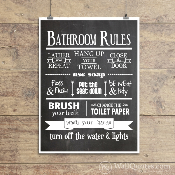 Bathroom Rules Classic Wall Quotes™ Giclée Art Print | Wallquotes In Bathroom Rules Wall Art (View 14 of 25)
