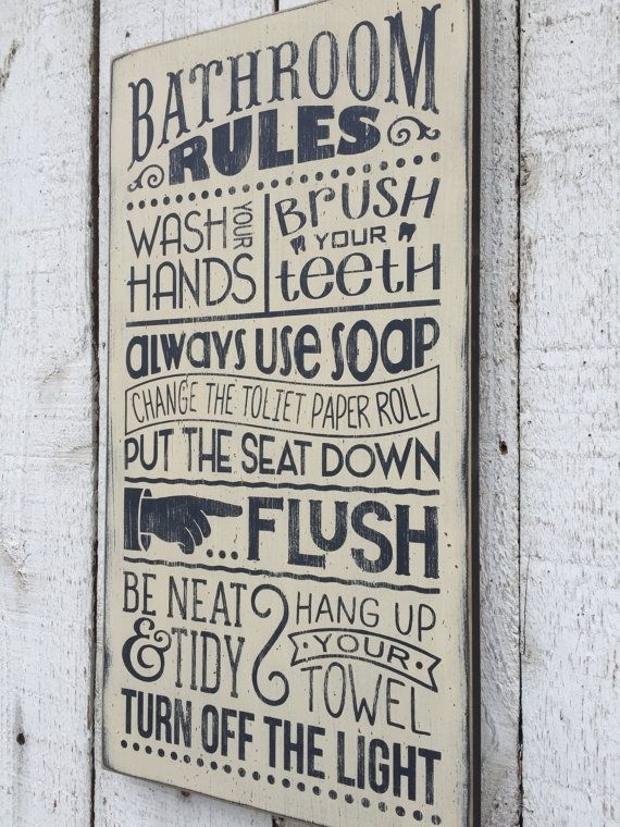 Bathroom Rules – Distressed Rustic Hand Painted Wood Sign Pertaining To Bathroom Rules Wall Art (Image 1 of 25)