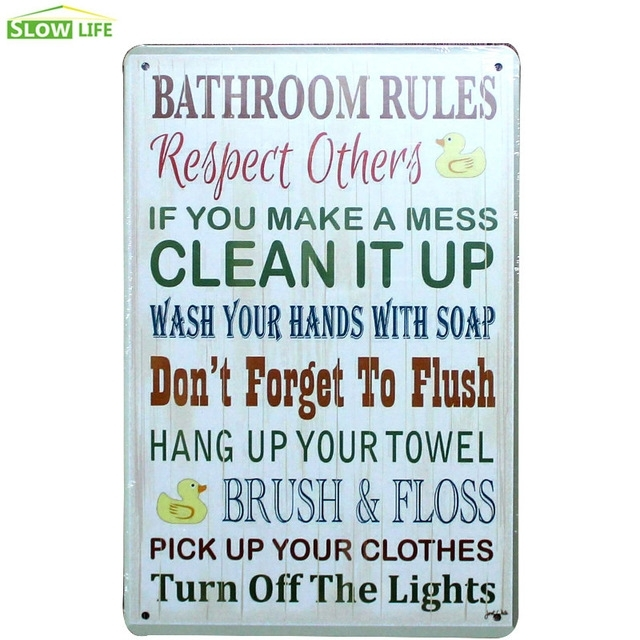 Bathroom Rules Metal Tin Sign Bar/family Wall Decor Metal Sign Regarding Bathroom Rules Wall Art (View 2 of 25)