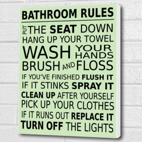 Bathroom Rules Wall Art Decor Throughout Bathroom Rules Wall Art (View 4 of 25)