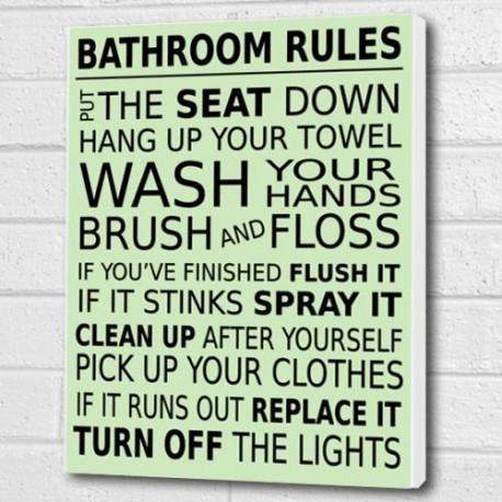 Bathroom Rules Wall Art Decor Throughout Bathroom Rules Wall Art (Image 10 of 25)
