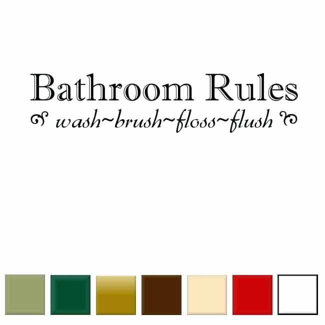 Bathroom Rules Wall Art Vinyl Decal Free Shipping On Orders Over For Bathroom Rules Wall Art (View 19 of 25)