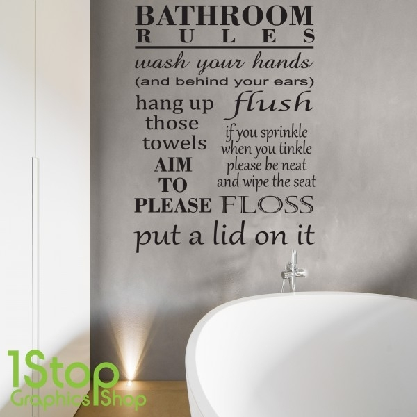 Bathroom Rules Wall Sticker Quote – Relax And Unwind Wall Art Decal With Bathroom Rules Wall Art (Image 14 of 25)